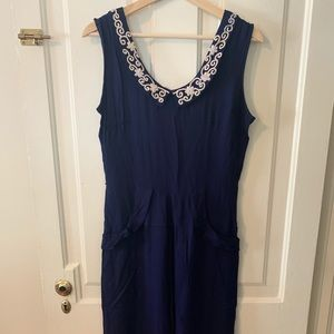 Vintage Handmade Linen Dress with Embroidery